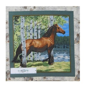 Patchwork Quilting Sewing Fabric HORSES IN THE WOODS 3 Panel 45x45cm New