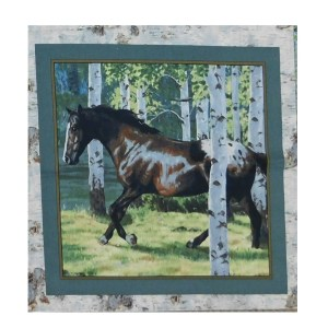 Patchwork Quilting Sewing Fabric HORSES IN THE WOODS 4 Panel 45x45cm New