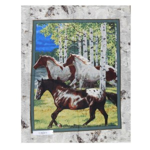 Patchwork Quilting Sewing Fabric HORSES IN THE WOODS Panel 90x110cm New