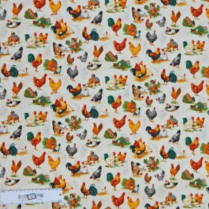 Patchwork Quilting Sewing Fabric CHICKEN TALK Material 50x55cm FQ New