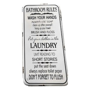 Country Tin Sign Vintage Inspired Enamel Wall Art BATHROOM RULES Retro Plaque New