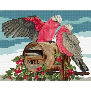 Country Threads Cross Stitch Kit AIR MAIL GALAHS Counted X Stitch New FJ-1085