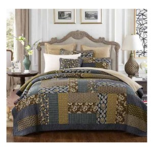 French Country Vintage Patchwork Bed Quilt COUNTRY BLUE QUEEN New