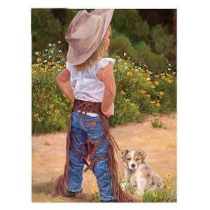 5D Diamond Painting Full Image Square Drills COWGIRL and PUPPY 30x40cm New