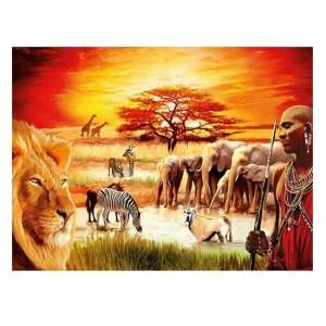 5D Diamond Painting Full Image Square Drills AFRICAN SUNSET 40x50cm
