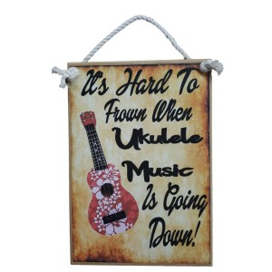 Country Printed Quality Wooden Sign UKULELE MUSIC GOING DOWN Funny Plaque New