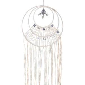 French Country Vintage Inspired Boho White Dream Catcher with Silver Talisman New