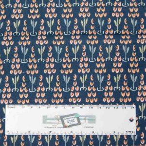 Patchwork Quilting Sewing Fabric LITTLE DEER NAVY FLORAL 50x55cm FQ New
