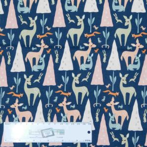 Patchwork Quilting Sewing Fabric LITTLE DEER NAVY TREES 50x55cm FQ New