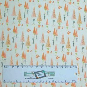 Patchwork Quilting Sewing Fabric LITTLE DEERS PINK TREES 50x55cm FQ New