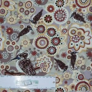 Patchwork Quilting Sewing Fabric ABORIGINAL KOOKABURRA 50x55cm FQ New