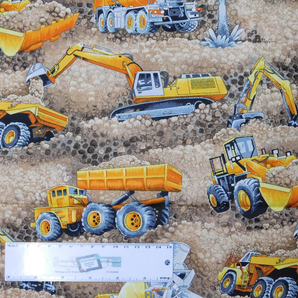 Patchwork Quilting Sewing Fabric MINING TRUCKS BORDER 50x55cm FQ New