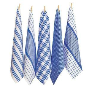 Country Vintage Modern Tea Towels Cotton Dish Cloths Set 5 BLUE New