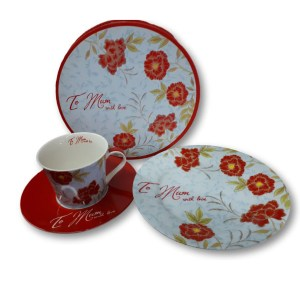 French Country Chic Kitchen Tea Cup, Saucer and Plate Set MUM New