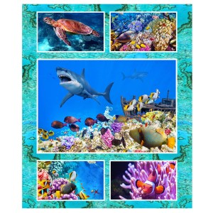 Patchwork Quilting Sewing Fabric GREAT BARRIER REEF MIXED Panel 60x110cm New