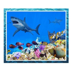 Patchwork Quilting Sewing Fabric GREAT BARRIER REEF SHARK Panel 90x110cm New