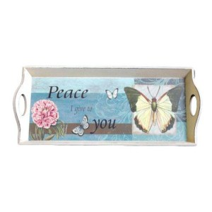 French Country Vintage Inspired Blue Butterfly Wooden Tray Large New