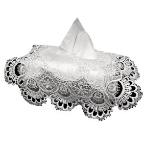 French Country Vintage Inspired Lace White Tissue Box Cover New