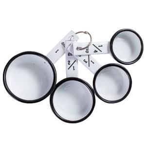 French Country Metal Enamel Retro Kitchen MEASURING CUPS White Set New