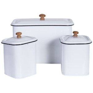 French Country Metal Enamel Retro Kitchen Canisters WHITE Set of 3 New