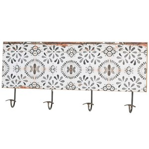 French Country Vintage Inspired Ornamental 4 Hooks Rack Timber Black White New