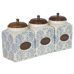 French Country Kitchen Canisters TEA, COFFEE, SUGAR with Seals Set of 3 China New