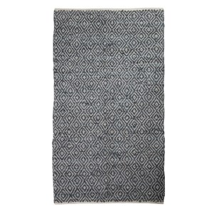 French Country Floor Mat Rectangle Woven LEATHER Floor Rug Denim Blue 90x150cm New