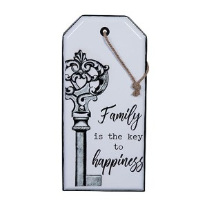 Country Tin Sign Vintage Inspired Enamel Wall Art FAMILY KEY TO HAPPINESS New
