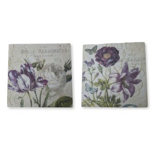 French Country Vintage Inspired Picture Wall Set 2 Flowers Hardboard Prints 1 New