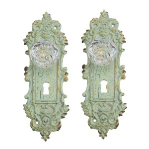 French Country Vintage Look Metal Set of 2 MINT Single Hooks with Crystal Knob New