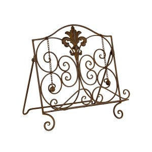French Country Vintage Kitchen Wrought Iron HERALD BROWN Recipe Book Holder New