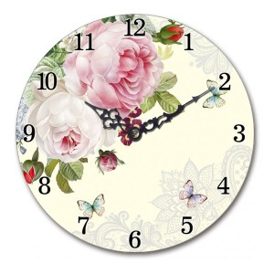 Clock French Country Vintage Wall Mantle PINK ROSE 14.5cm Small Time New