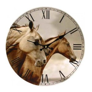 Clock French Country Vintage Wall Hanging WINDSWEPT HORSES Time 34cm New