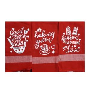 Set of 3 New Tea Towels Kitchen Sayings RED 2 Handmade Teatowels Baking Queen