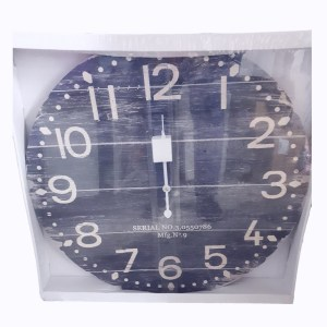 Clock French Country Vintage Wall Hanging 58cm NAVY DARK GREY TIMBER New