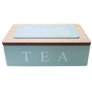 French Country Tea Bag Box TEA IS THE ANSWER Blue Wooden 6 Sections Teabag Holder New