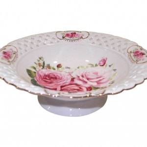 French Country Chic Kitchen Elegant Serving Fruit Bowl PINK ROSE 24cm New Giftboxed