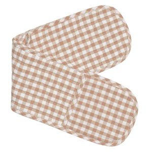 Gingham Check Kitchen Double Oven Gloves TAUPE CHECK Pot Holder Mitts New