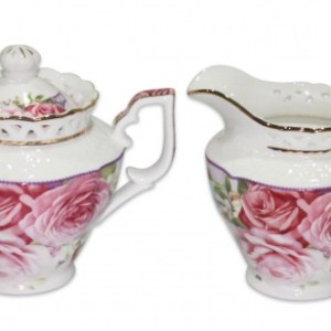 French Country Chic China Kitchen PINK ROSE Sugar and Creamer Milk Set New