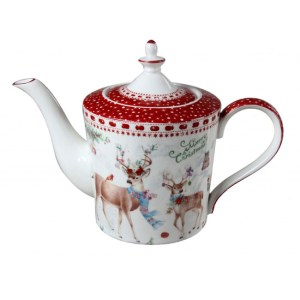 French Country Lovely Kitchen Teapot XMAS REINDEER China Tea Pot with Giftbox New