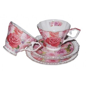 French Country Chic Kitchen Tea Cups and Saucers Set of 2 ENDURING ROSE New Giftboxed