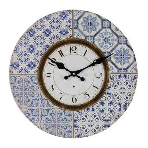 Clock French Country Vintage Wall Hanging 34cm MOROCCAN BLUE Boards New