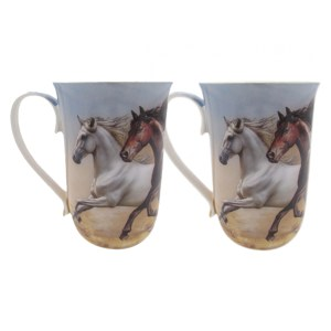 French Country Chic Kitchen 405mm Tea Coffee Mugs HORSE Set of 2 New