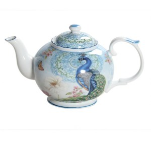 French Country Lovely Kitchen Teapot PEACOCK China Tea Pot with Giftbox New