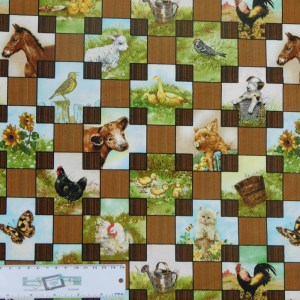 Patchwork Quilting Sewing Fabric BARN YARD BABIES 50x55cm FQ New