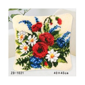 Crafting Kit Latch Hook with Canvas, Hook and Precut Threads FLOWERS FLORAL New