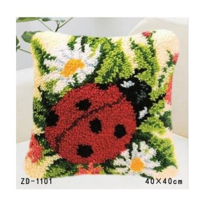 Crafting Kit Latch Hook with Canvas, Hook and Precut Threads LADY BUG New