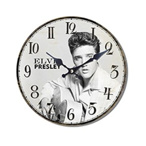 Clock French Country Vintage Wall Hanging ELVIS PRESLEY GUITAR Time 29cm New