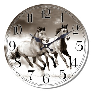 Clock French Country Vintage Wall Hanging TWO HORSES BLACK and WHITE Time 29cm New
