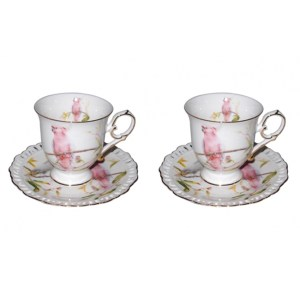 French Country Chic Kitchen Tea Cups and Saucers Set of 2 COCKATOO New in Giftbox